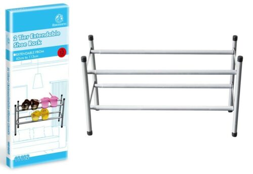 2 Tier Metal Frame Extendable Shoe Rack Holder Storage Organiser 62-113cm