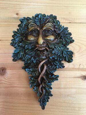 GREENMAN FACE DECORATIVE GARDEN WALL PLAQUE BLUE NEW /& BOXED 21cm
