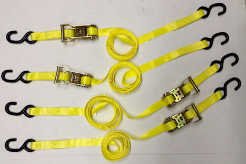 1x10' Heavy Duty Ratcheting Tie Down Set - 4pcs - Color Yellow