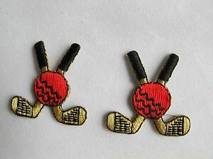 5019-Lot-2Pcs-Golden-Black-Golf-Clubs-w-Ball-Embroidery-Iron-On-Applique-Patch