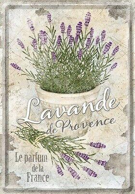 PLAQUE EN METAL EMAILLEE 10 X 14 cm (CARTE POSTALE) : LAVANDE PARFUM DE PROVENCE