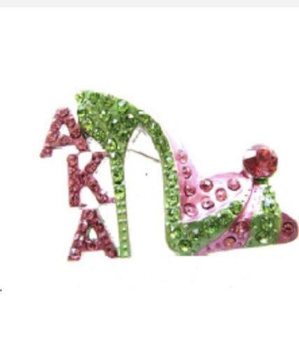 New Alpha Kappa Alpha AKA Rhinestone High Heal Shoe Inspired sorority Pin