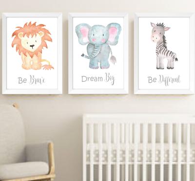 Safari Jungle Animals Nursery Prints Set Of 3, Baby Room Pictures Wall Art Decor | EBay