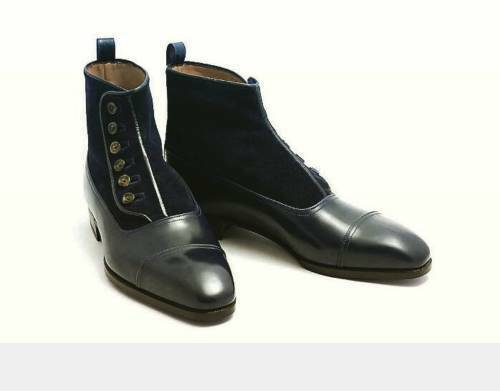 MEN HANDMADE SUEDE & LEATHER Schuhe TWO TONE BLACK BUTTONED FORMAL DRESS BOOTS