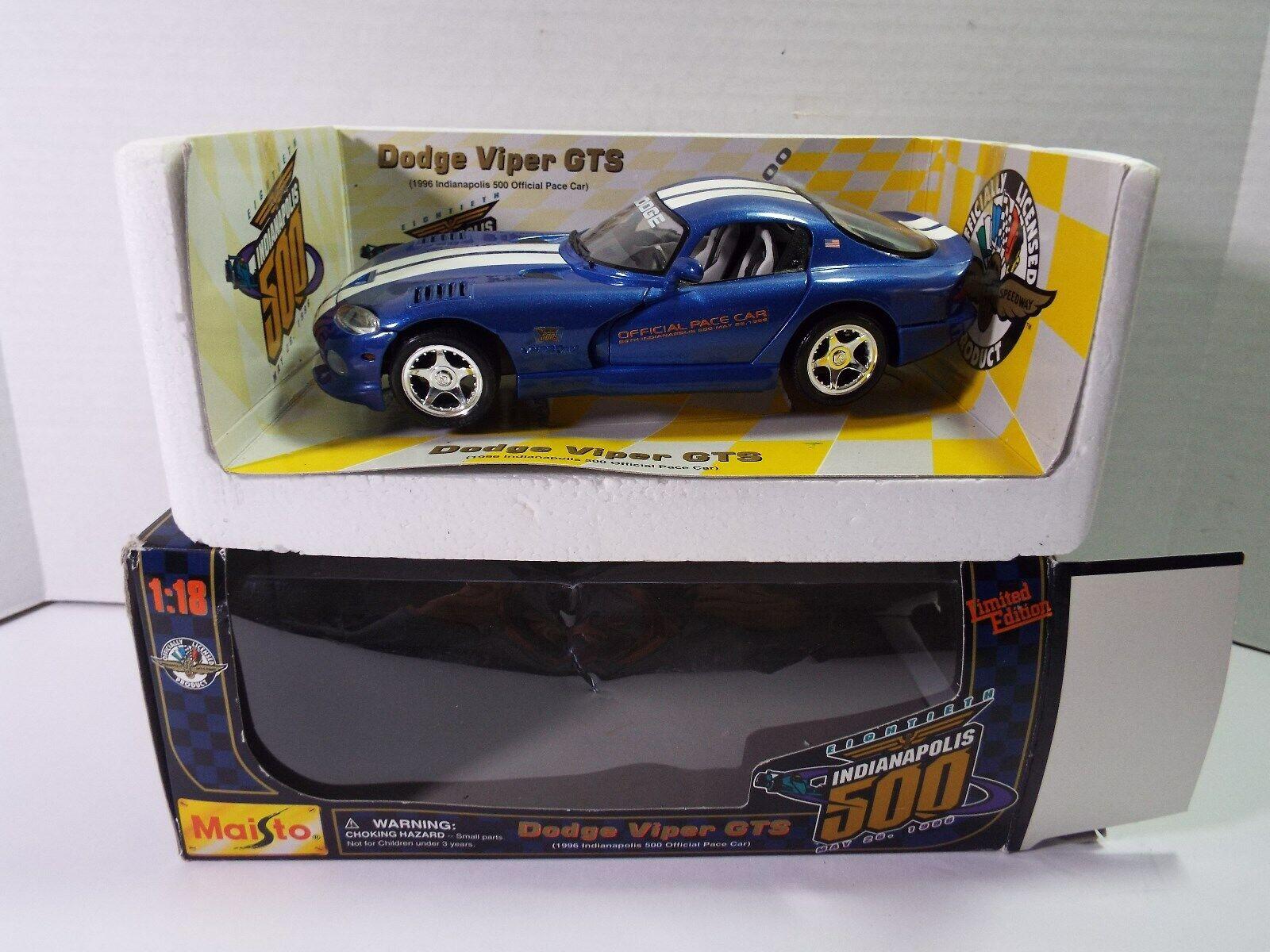 MAISTO  18 18th Indianapolis 500 bluee  Dodge Viper Viper Viper GTS  Diecast Car NOS 54db54