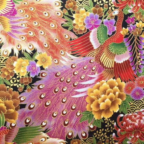 asian purple red gold Japanese peacock fabric oriental cotton metallic birds