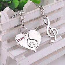 2 pezzi coppie collana chiave a forma di cuore Portachiavi Nota musicale regalo