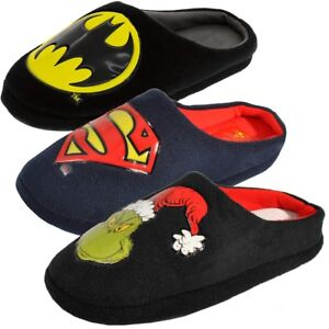 Mens Batman Superman Grinch Slippers Novelty Superhero House Shoes Size