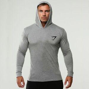 Men Gym Sexy Thin Hoodie Long Sleeve Sport Hoodies Sweatshirt ...