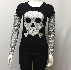 NEW-Juniors-Long-Sleeve-T-shirt-Sugar-Skull-Halloween-Jerry-Leigh-100-Cotton