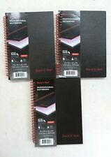 3 Pack Black N Red Hardcover Notebook Twin Spiral Wirebound Medium 5 78 X 8 14