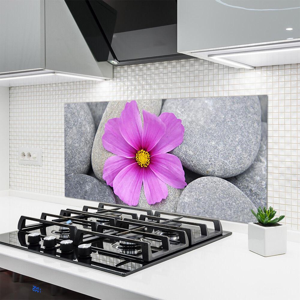 crédence de cuisine en verre verre en panneau 120x60 floral pierres