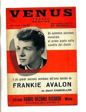 VENUS # Spartito Radio Record Ricordi 1959 # Frankie Avalon- Ed Marshall- Calibi