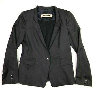 Tara jarmon super 100s suit jacket dark grey size 38 0 xs wool hemmed sleeves