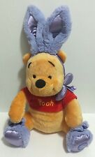 Disney Store Winnie the Pooh Easter Bunny Plush w/ Purple Slippers Ears EUC
