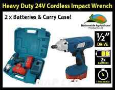 "Heavy Duty 1/2 ""Drive 24V CORDLESS IMPACT WRENCH, 2 x 24V LE BATTERIE, VALIGETTA!"