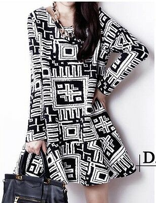 Fashion Woman's Autumn Winter Loose Long-sleeved Plaid Skirt Bottoming Dress
