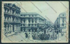 Napoli-Piazza-Borsa-ABRASA-PIEGHE-cartolina-D5717-SZD