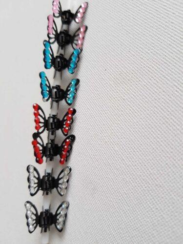 REGNO Unito Ragazze cristallo strass fiore capelli Mini Clip Artiglio Matrimonio Pinze Grip x12