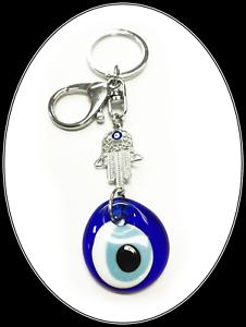 Hasma Hand Keychain w// Glass Nazar Talisman #1022