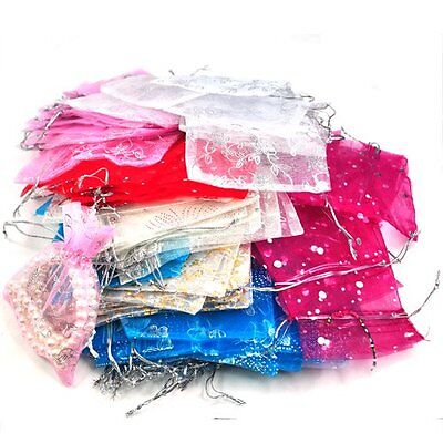100 Mixed Organza Gift Bags Jewellery Pouch 13cm X 10cm N3