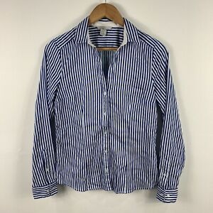 H-amp-M-Womens-Button-Shirt-Top-Size-10-Blue-White-Stripe-Long-Sleeve