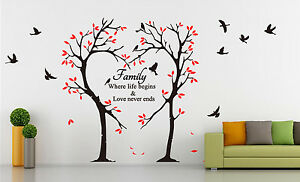 large tree love heart birds quotes wall art sticker decal uk sh185