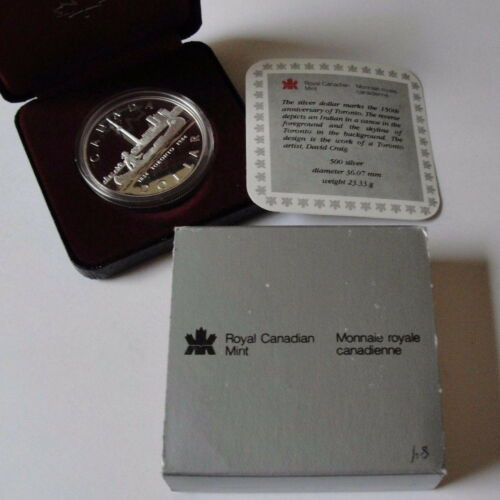 TORONTO SILVER DOLLAR PROOF W CASE/&COA 1984 CANADA INDIAN /& CANOE 150th ANNIV