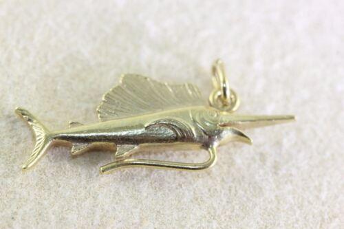 VINTAGE 14K GOLD 3D SWORD FISH MARLIN CHARM SOLID