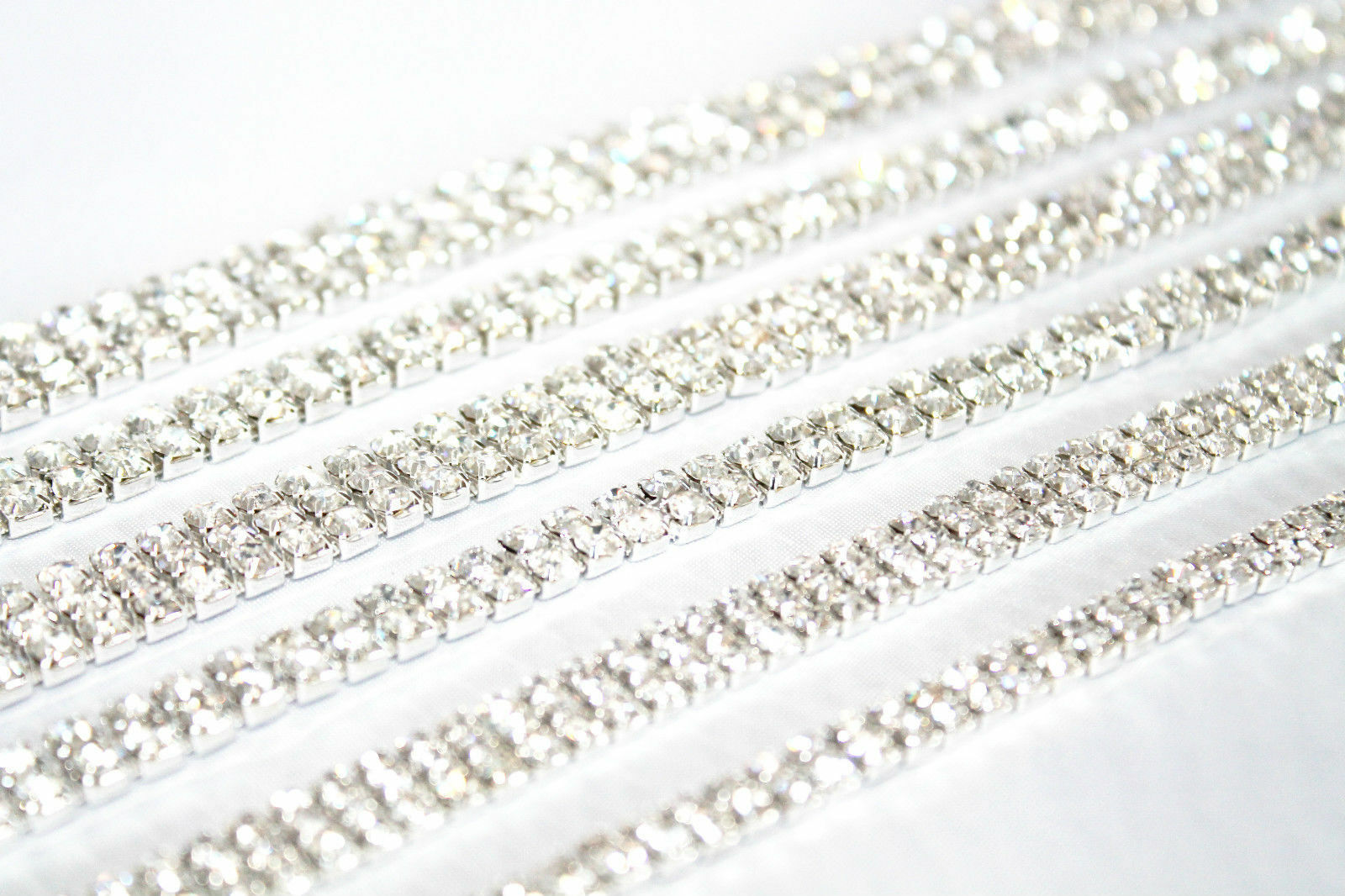 1M Diamante Chain Trim Rhinestone Crystal Silver Cake Toppers Decorations SS16