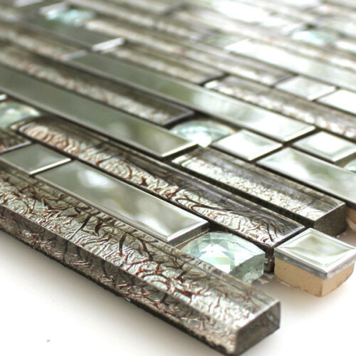 Mosaic Tiles Glass Stainless Steel Metal Diamond Wall Mirror