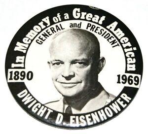 1969 DWIGHT D. EISENHOWER MEMORIAL MEMORIAM ike pin pinback button presidential