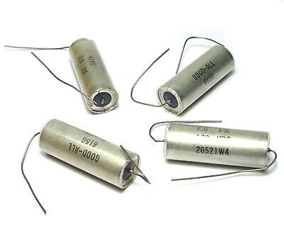 4x Good-all Typ 615g Kondensator 2 µf / 100v, Axial Mit Glas-durchführungen, Nos