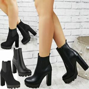 Womens Ladies Block High Heels Ankle Chelsea Boots Platforms Shoes Winter Size