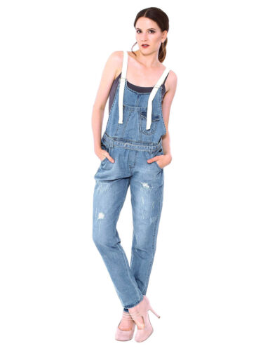 Women Casual One Piece Demin Jeans Bib Pants Overalls Jumpsuits Long Trouser