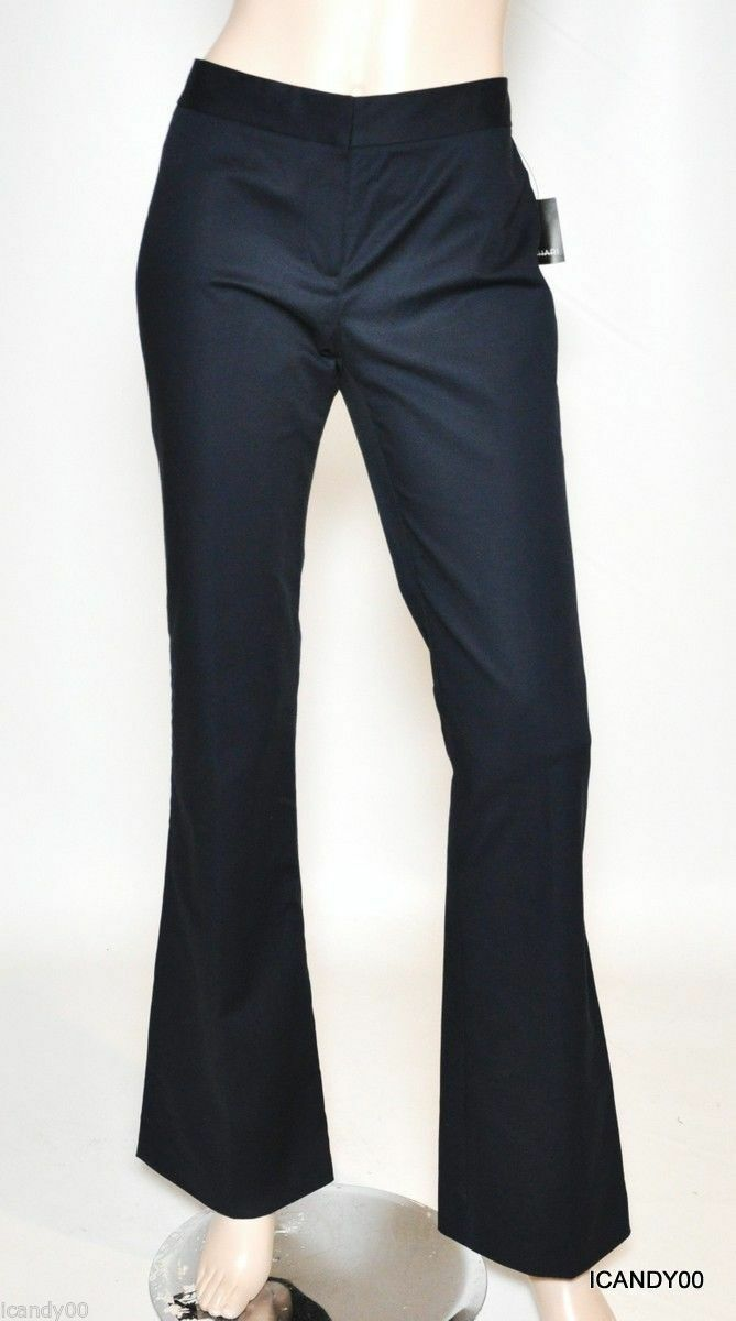 Nwt  178 Tahari TERRY Stretch Cotton Wide Leg Pants Trousers Navy Blau 4