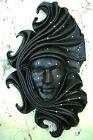 Odalisca - Maschera veneziana artigianale in ceramica e cuoio - Pezzo unico