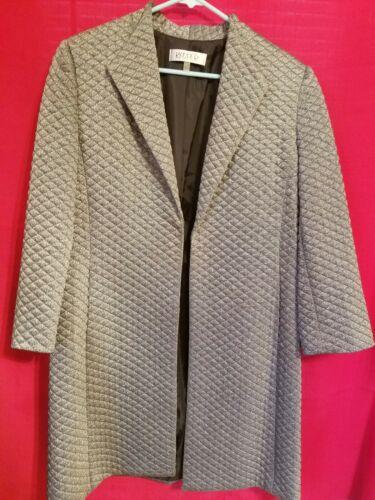 metallizzato 10 in Sz Up Coat Cover Vtg Kasper Women realizzato Vitenam Grigio CwXqx07