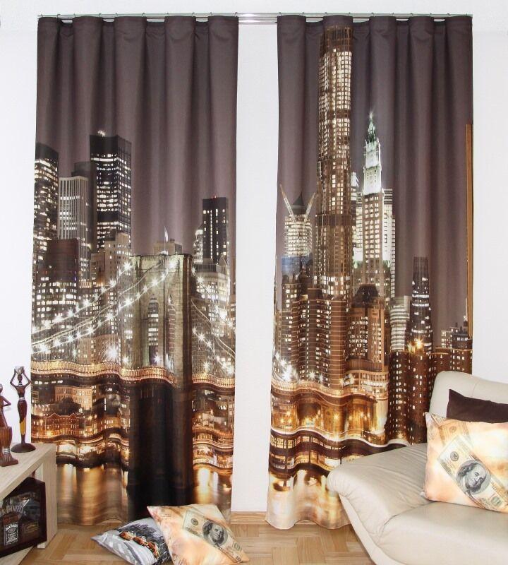 Gardinen -Set  New York City  modern 3 D Effekt Vorhang Raumteiler 834-2 curtain |