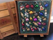 Thomas Pacconi Classics CH700 Glass Blown Christmas Ornaments 30 Pc Wood Box