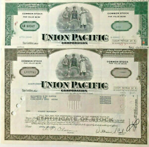 Union Pacific > set of 2 railroad stock certificates