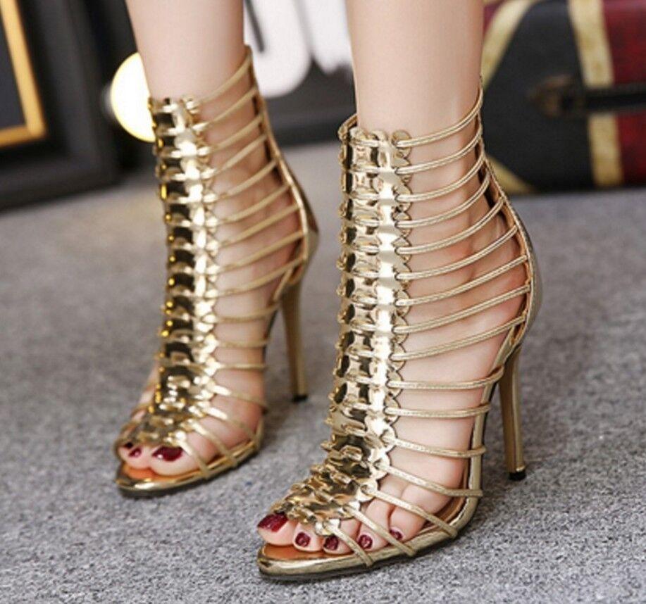 Sexy Femme Hollow Out Talons Hauts Peep Toe Stilettos Soirée Sandales Chaussures De Loisirs
