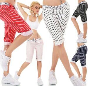 Italy-Mujer-Shorts-Bermudas-Baggy-Corto-Pantalon-Chino-de-Rayas-Stretch