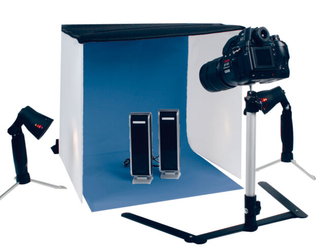 Aufklappbares Fotostudio Set XL 60 x 60 cm + Lampen Stativ Tasche Hintergründe