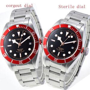 41mm-CORGUET-black-dial-red-bezel-Sapphire-21-jewels-miyota-automatic-mens-Watch