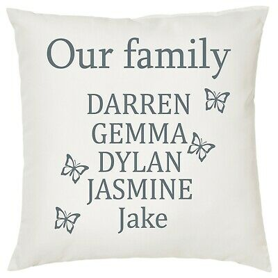 Personalised Stick Family Quote Cushion Cover Gift 40 x 40 Country Cream Canvas