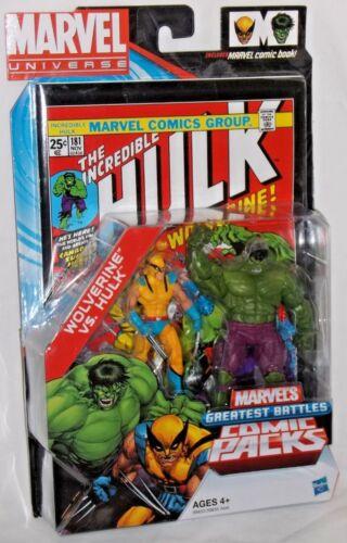 HASBRO Comme neuf dans emballage scellé Marvel Universe Hulk Wolverine plus grandes batailles COMIC PACK #181