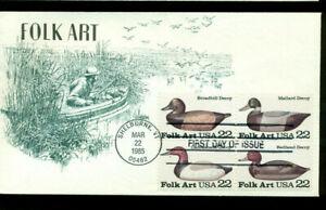 Kmc Venture Peint à La Main Cachet = 1985 Scott # 2138-41 = Duck Decoys Ua-afficher Le Titre D'origine Beau Lustre