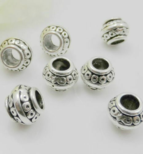 Free Ship 300Pcs Tibetan Silver Big Hole Spacer Beads For Jewelry Making 7x9.5mm