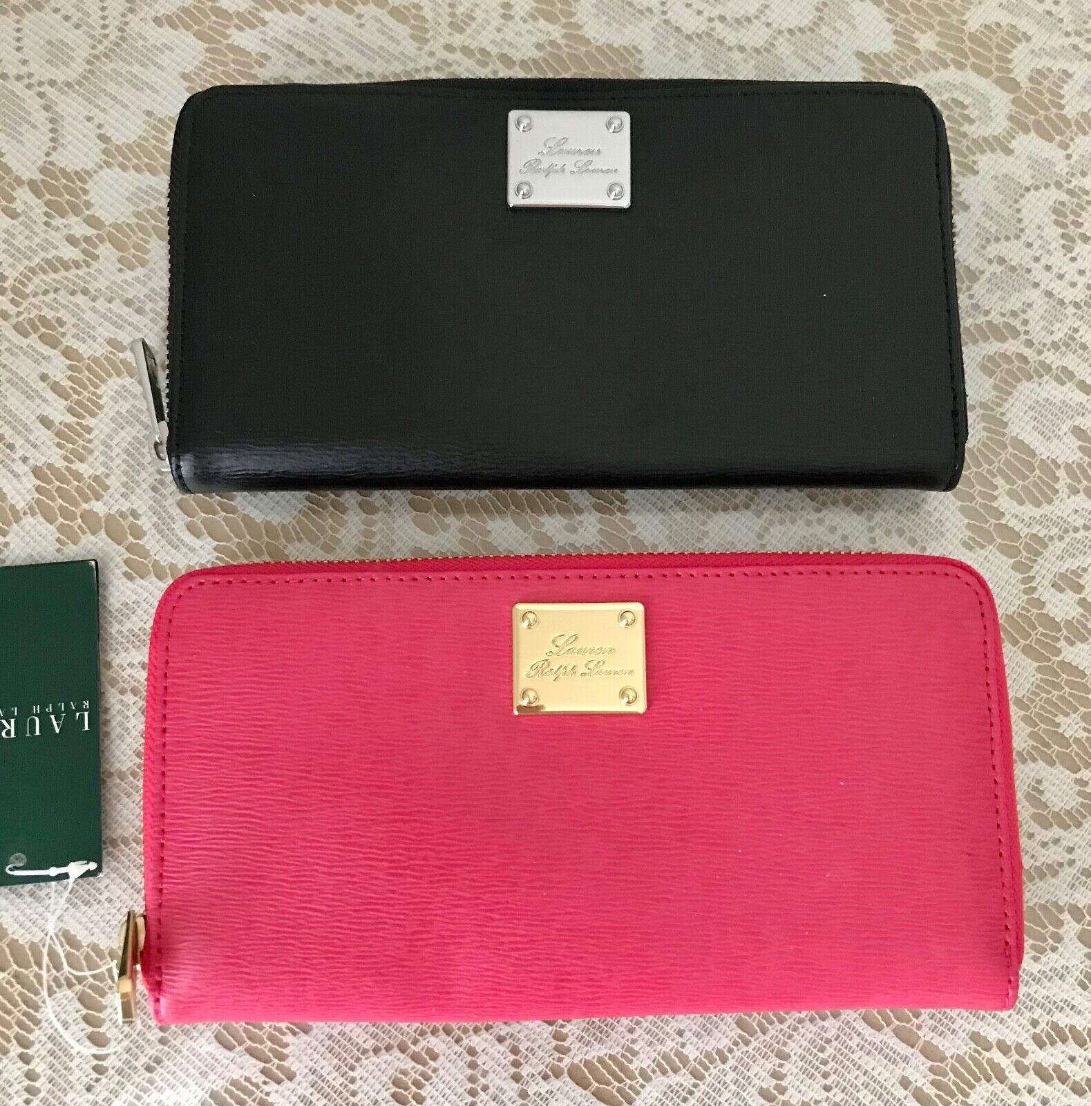 NWT Ralph Lauren Leather Sloan Street zip wallet pink black geranium